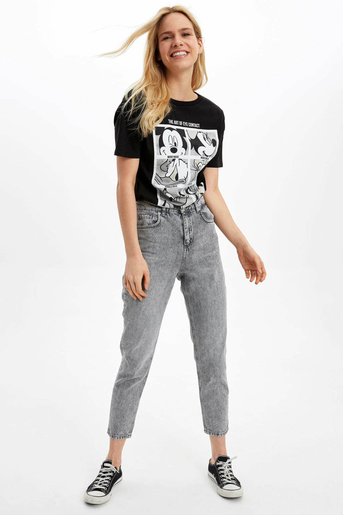 DeFacto Woman Light Grey Denim Jeans Women Casual Denim Pants Women Ninth Denim Bottoms Trousers-J4121AZ20SP