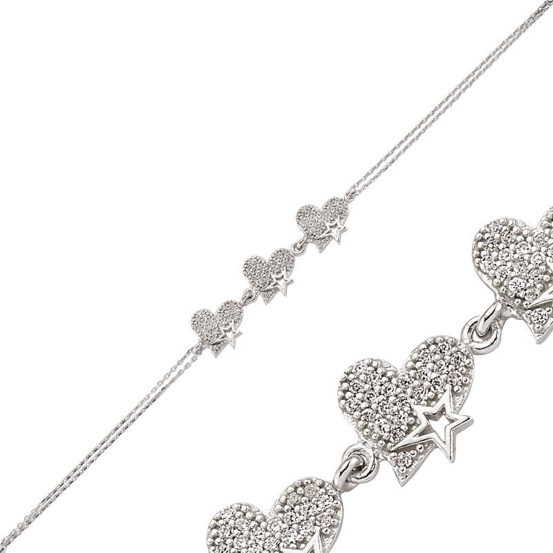 Armagano 100% 925 Sterling Silver Three Heart Women Bracelet High Quality and Original Women Wrist Straps