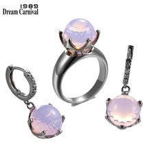 DreamCarnival1989 nouvelle arrivée dôme taille rose couleur zircone anneaux + boucles doreilles ensemble couronne forme Top marque bijoux de qualité ER3819PNS2