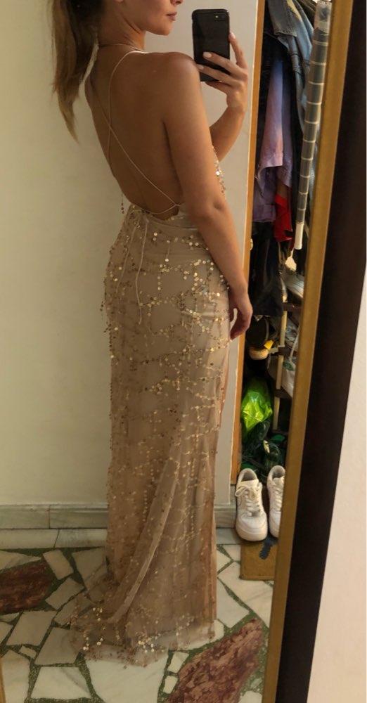 Night Club Elegant Vestidos De Festa Women Sexy Dresses Gold Shiny Sequin Long Evening Maxi Spring Party Dress photo review