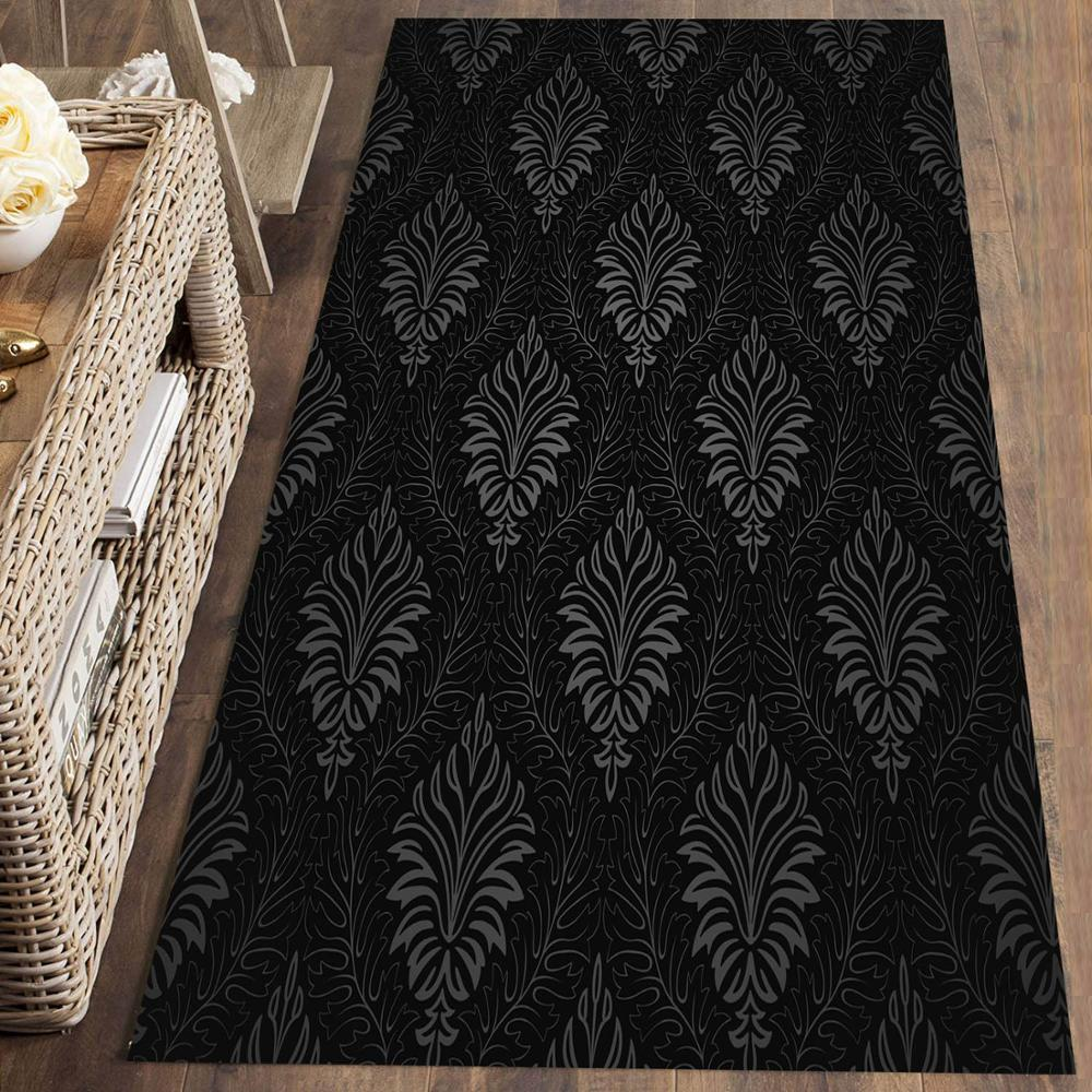 Else Black White Damask Vintage Moroccan 3d Print Non Slip Microfiber Washable Long Runner Mat Floor Mat Rugs Hallway Carpets