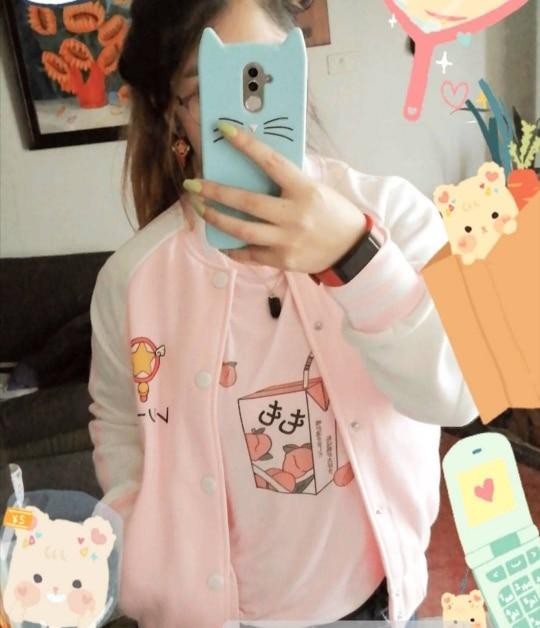 E-girl Soft girl Cartoon Peach print T-shirt photo review