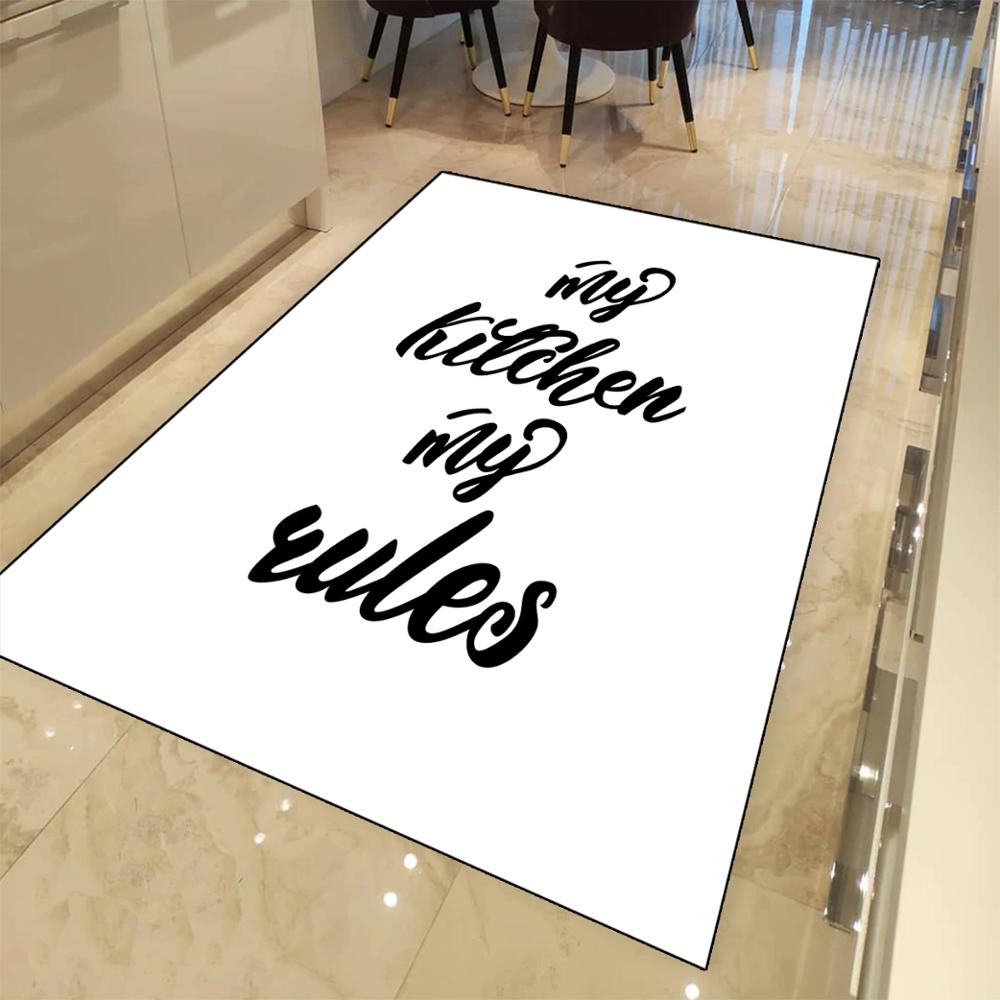Else White Floor Black Writen My Kitchen My Rules 3d Print Non Slip Microfiber Kitchen Modern Decorative Washable Area Rug Mat