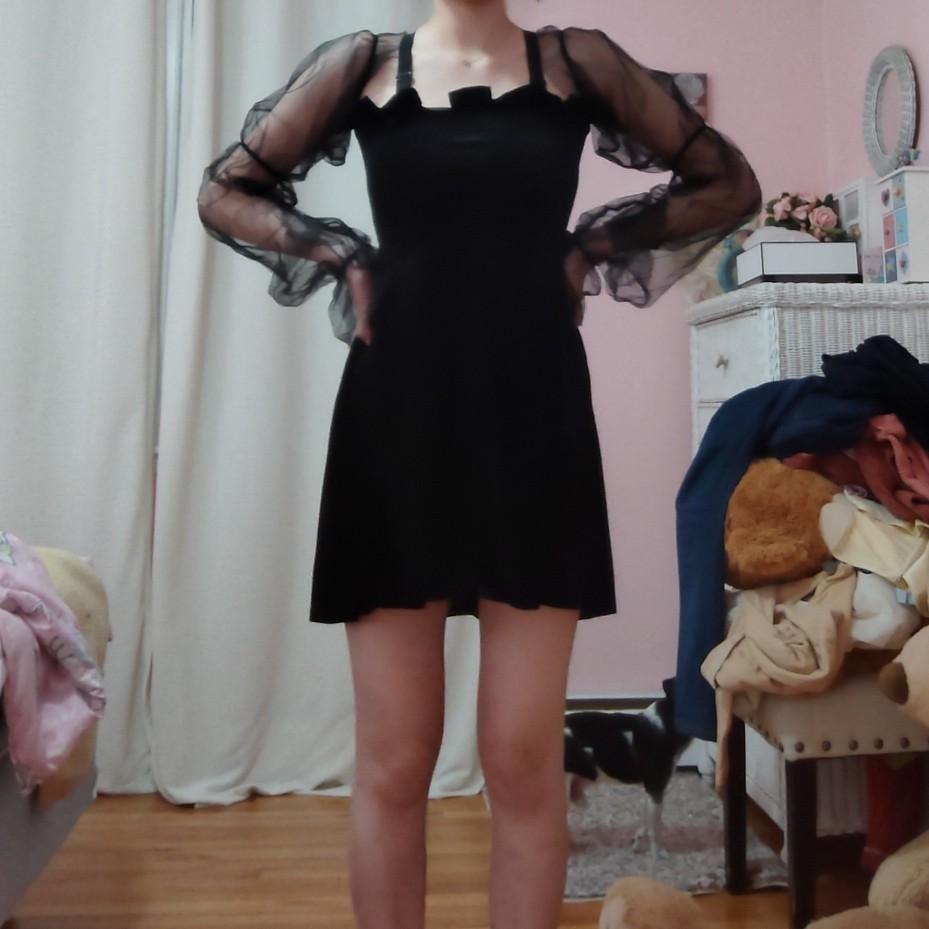 Pastel Gothic Mesh sleeve Vintage Dresses photo review
