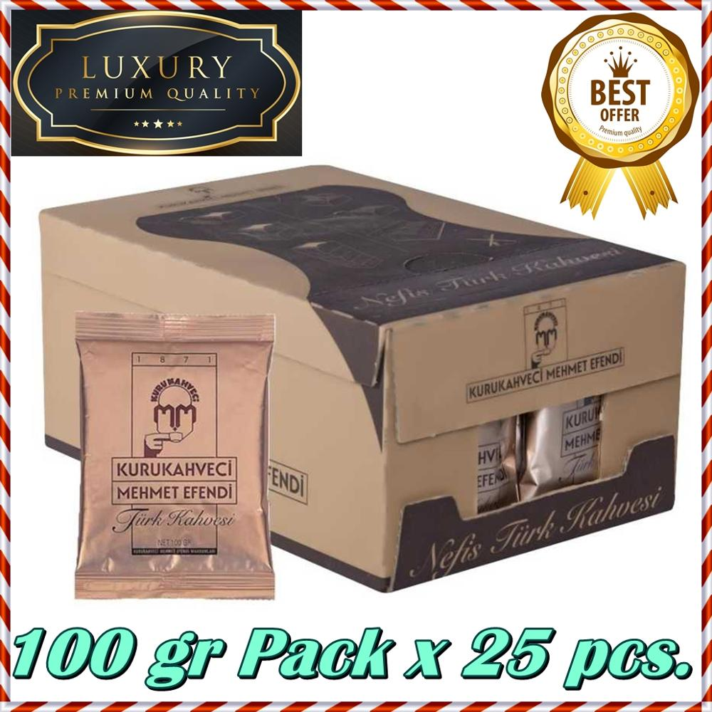 WORLDWIDE FREE SHIPPING With DHL EXPRESS FOMOUS BEST QUALITY Kurukahveci Mehmet Efendi Turkish Ground Coffee 100gr Pack X 25 Pcs