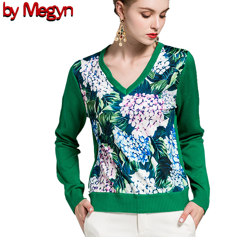 2019 свитер женский Sweater Women Fashion V-neck Long Sleeve Wool Green Flower Print Top Jumper  Runway Style 2XL Plus Size