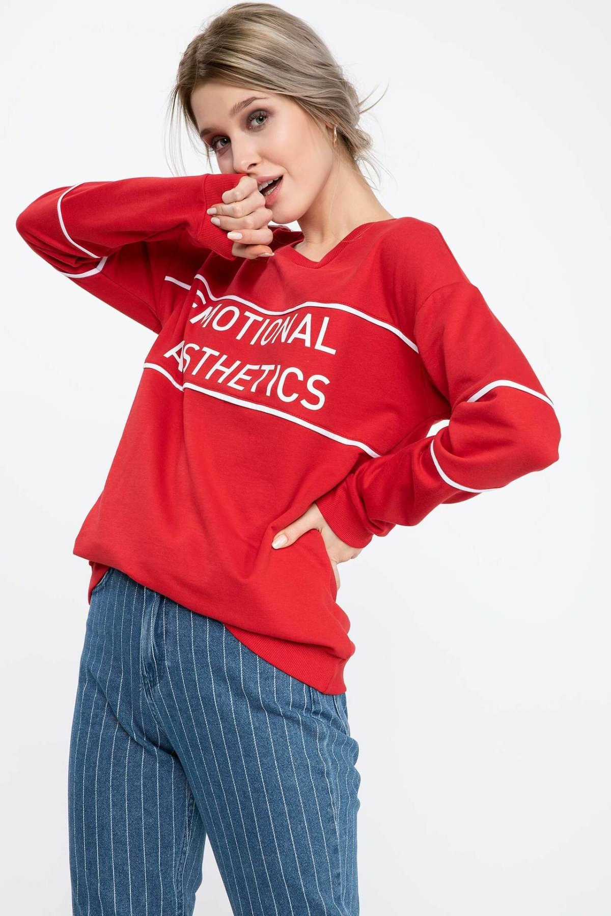 DeFacto Fashion Women O-neck Pullovers Letter Pattern Casual Long Sleeves Pullovers Loose Women Autumn New -K6949AZ18CW