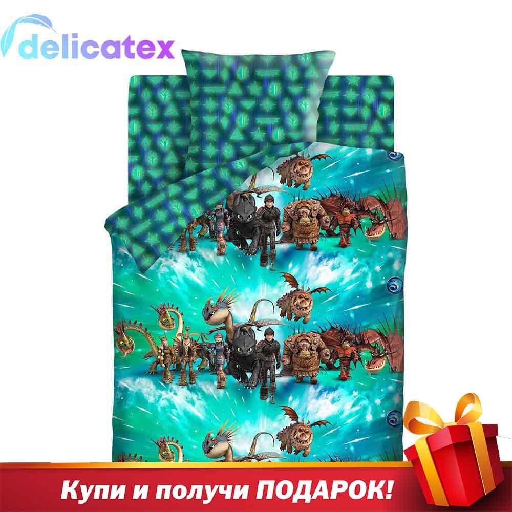 Bedding Sets Delicatex 16127-2+16128-1 Vikingi I Drakonyi Home Textile Bed Sheets Linen Cushion Covers Duvet Cover Baby Cotton