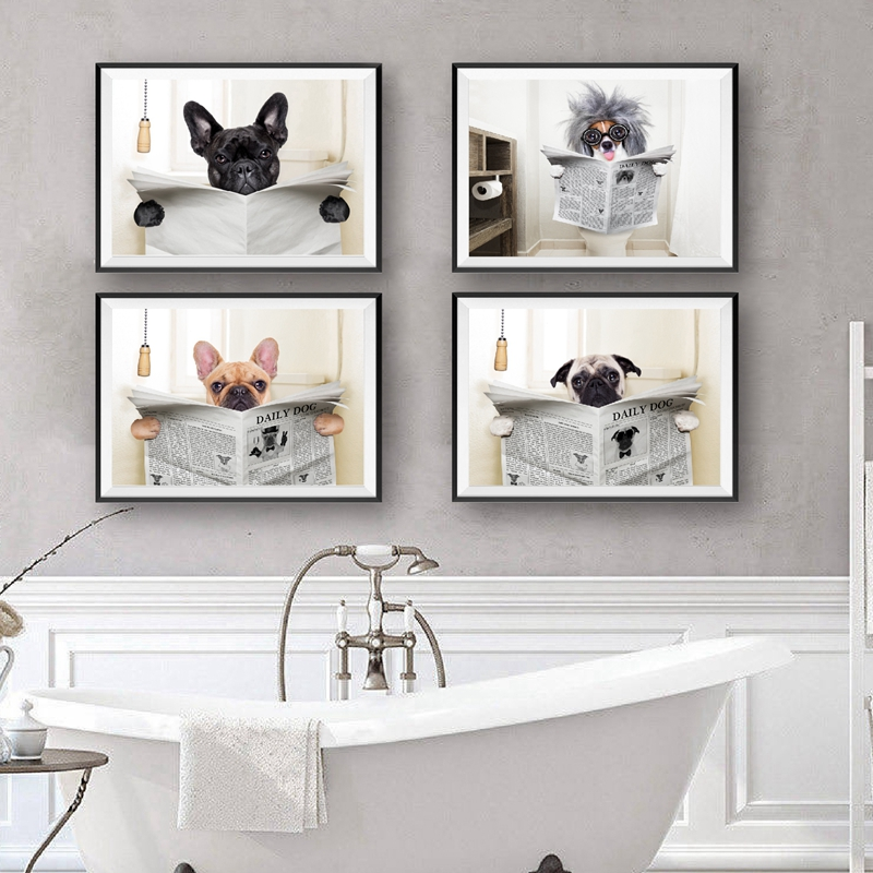 Dog Sitting on Toilet and Reading Magazine Poster Wall Decor