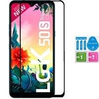 LG K50s 전체 LCD 화면 보호기 키트 용 1x 강화 유리