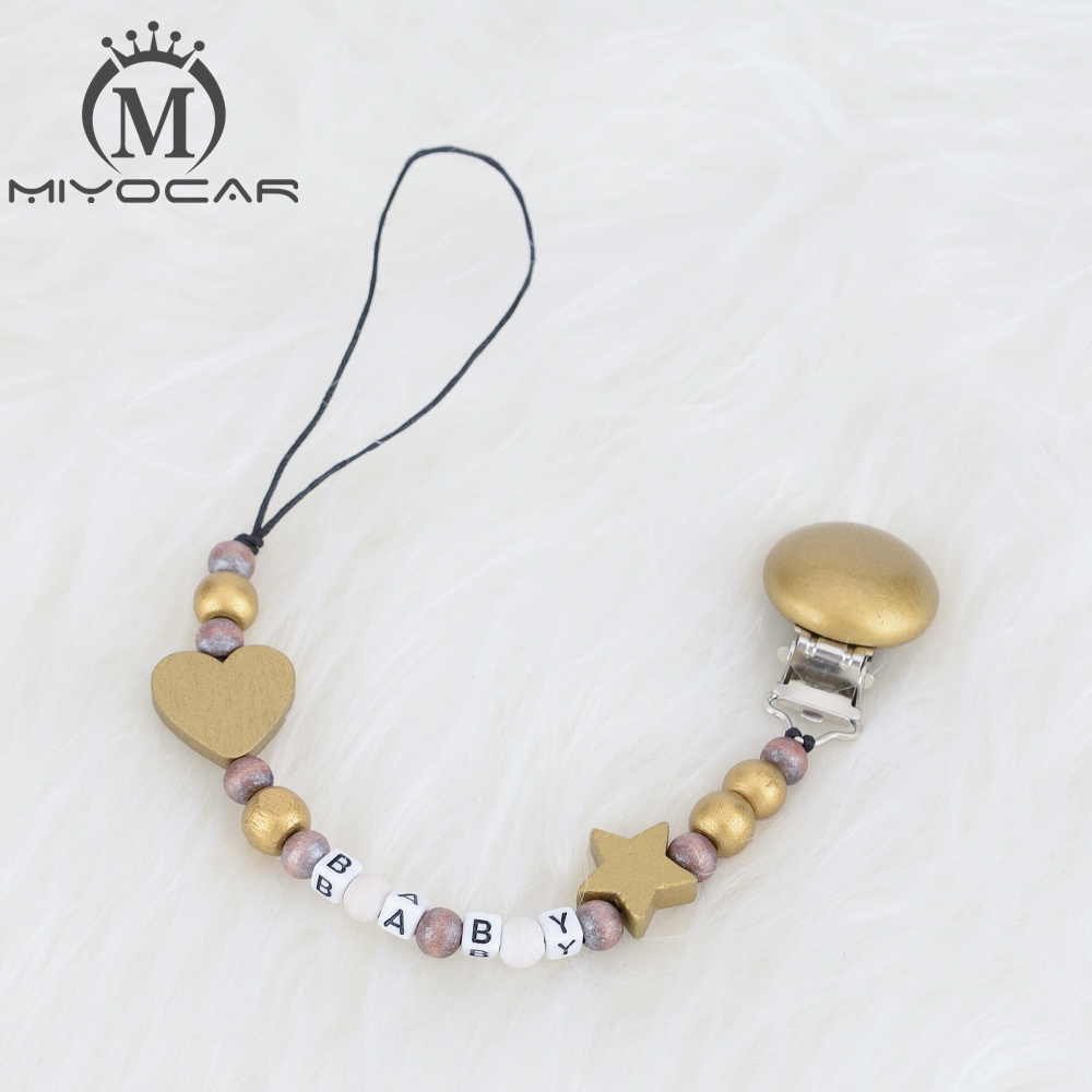 Personalised -Any Name Sliver And Gold 2 Color Wooden Beads Dummy Clip Holder Pacifier Clips Soother Chain Teether Clip