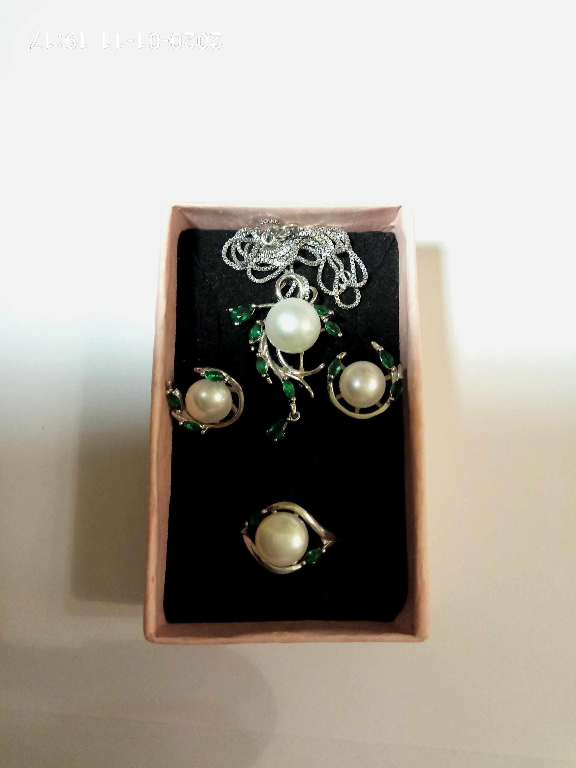 Женский комплект ювелирных изделий FENASY, из серебра 925 пробы с натуральным жемчугом и изумрудом, серьги в виде листика, ожерелье, подвеска, Помолвочное кольцо