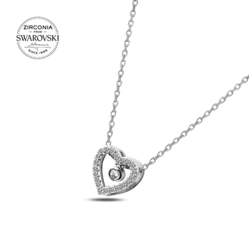 Silver 925 Sterling Swarovski Zirconia Cubic Zirconia Dangle Heart Pendant