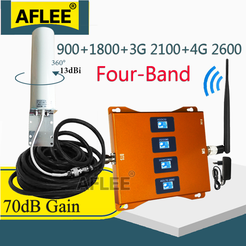 New!! 900 1800 2100 2600 Mhz Four-Band 4G Signal Amplifier 4G Cell Phone Repeater GSM 2G 3G 4G Signal Booster GSM DCS WCDMA LTE