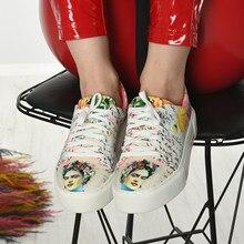 Yeni sezon çiçekli dijital baskı sneakers ayakkabı