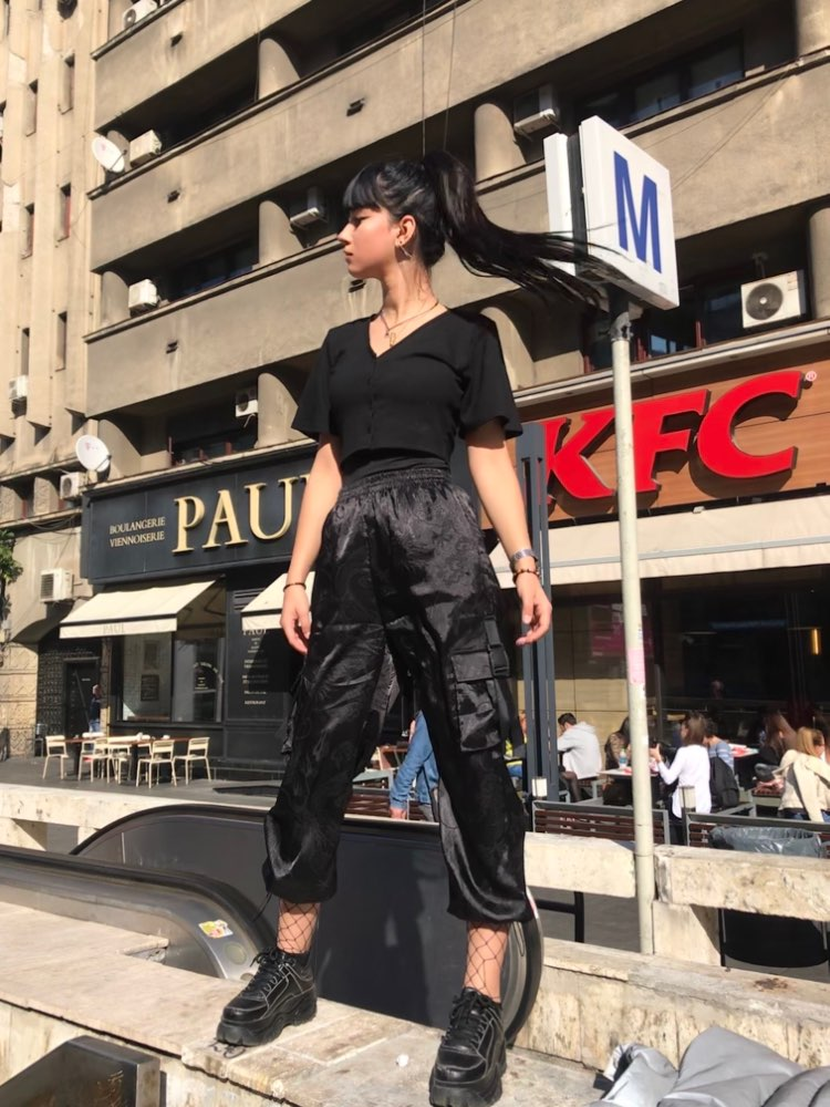 Harajuku Dragon Embroidery Soft Cargo Pants Women Side Pocket Rock Loose Elastic Waist Trousers Female photo review