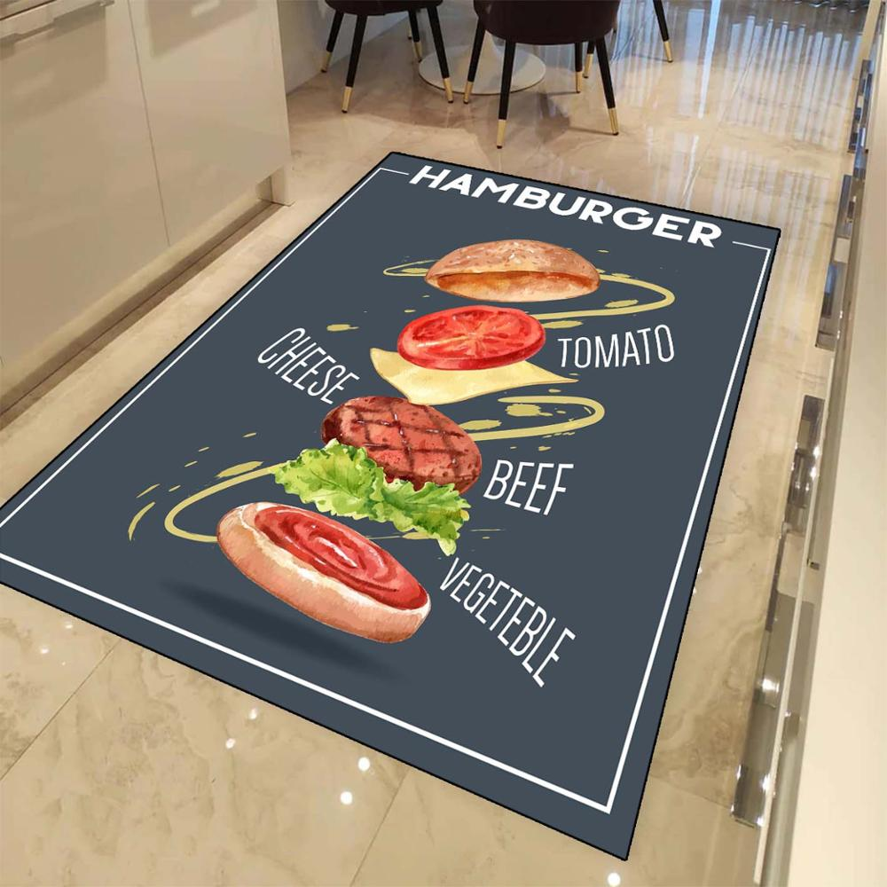 Else Navy Blue Fresh Hamburger 3d Print Non Slip Microfiber Kitchen Modern Decorative Washable Area Rug Mat