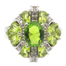 20x19mm 2020 New Arrival Created Green Peridot CZ Gift For