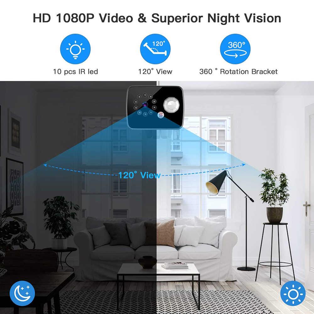 Cámara de seguridad portátil Mini, cámara de seguridad 2020 P, grabación de 8 horas, Larga 25 días de modo de reposo, compatible con PIR detección de movimiento visión nocturna, 1080