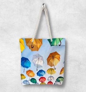 Else Yellow Blue Green Red Umbrellas New Fashion White Rope Handle Canvas Bag Cotton Canvas Zippered Tote Bag Shoulder Bag