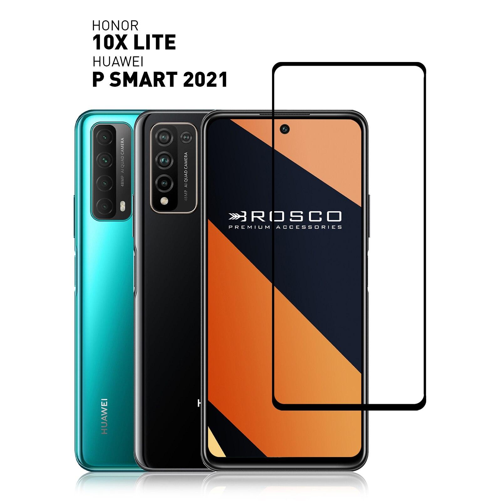 Защитное стекло с рамкой для Honor 10X Lite и Huawei P Smart 2021, прочное, легко приклеивается Защитные стёкла и плёнки    АлиЭкспресс