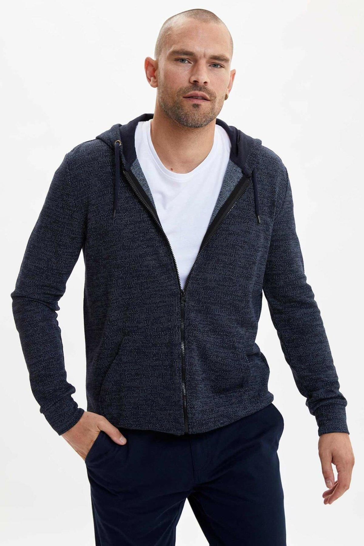 DeFacto Man Autumn Dark Color Knitted Cardigan Men Casual Long Sleeve Hoodies Cardigan Coats Men Zipper Top Coats-L7551AZ19AU