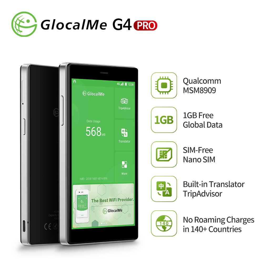 GlocalMe G4 Pro[2020 New Version]Mobile Wifi Hotspot With 1GB Global Data/No SIM Card Roaming Charges International Pocket WiFi