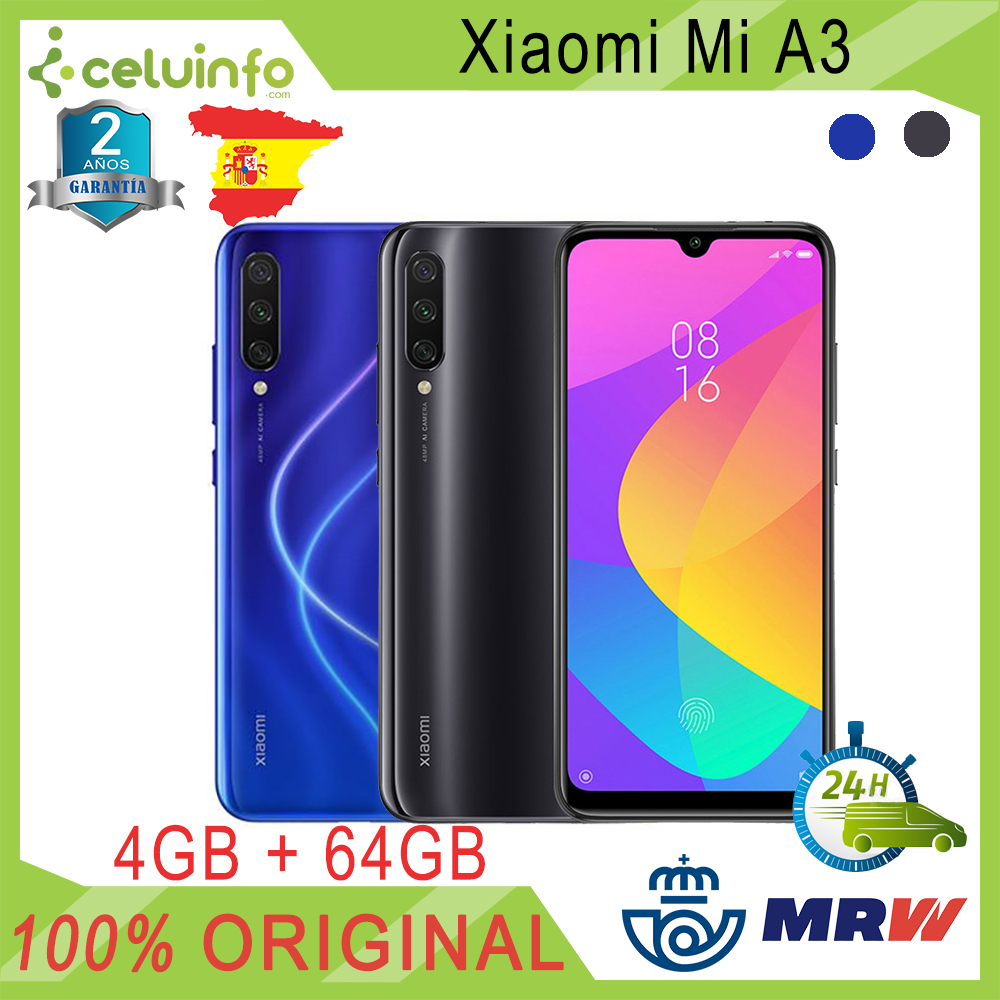 "Xiaomi Mi A3 64 GB Blue Grey 4 GB 6.08 ""Dual SIM NEW Official Sent 2 Years warranty from Spain"