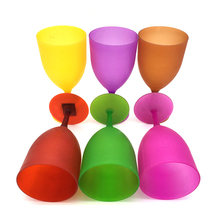 6Pcs/Set Colorful Plastic Goblet Wine Glass Cup Cocktail Champagne Standing Cups PP High Quality Glasses Drinkware