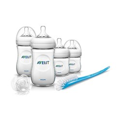 Philips Avent Natural PP Newborn Baby Gift Set Baby Accessories Feeder ,4 Natural Bottles,1 Nipple Brush,1 Transparent Pacifier