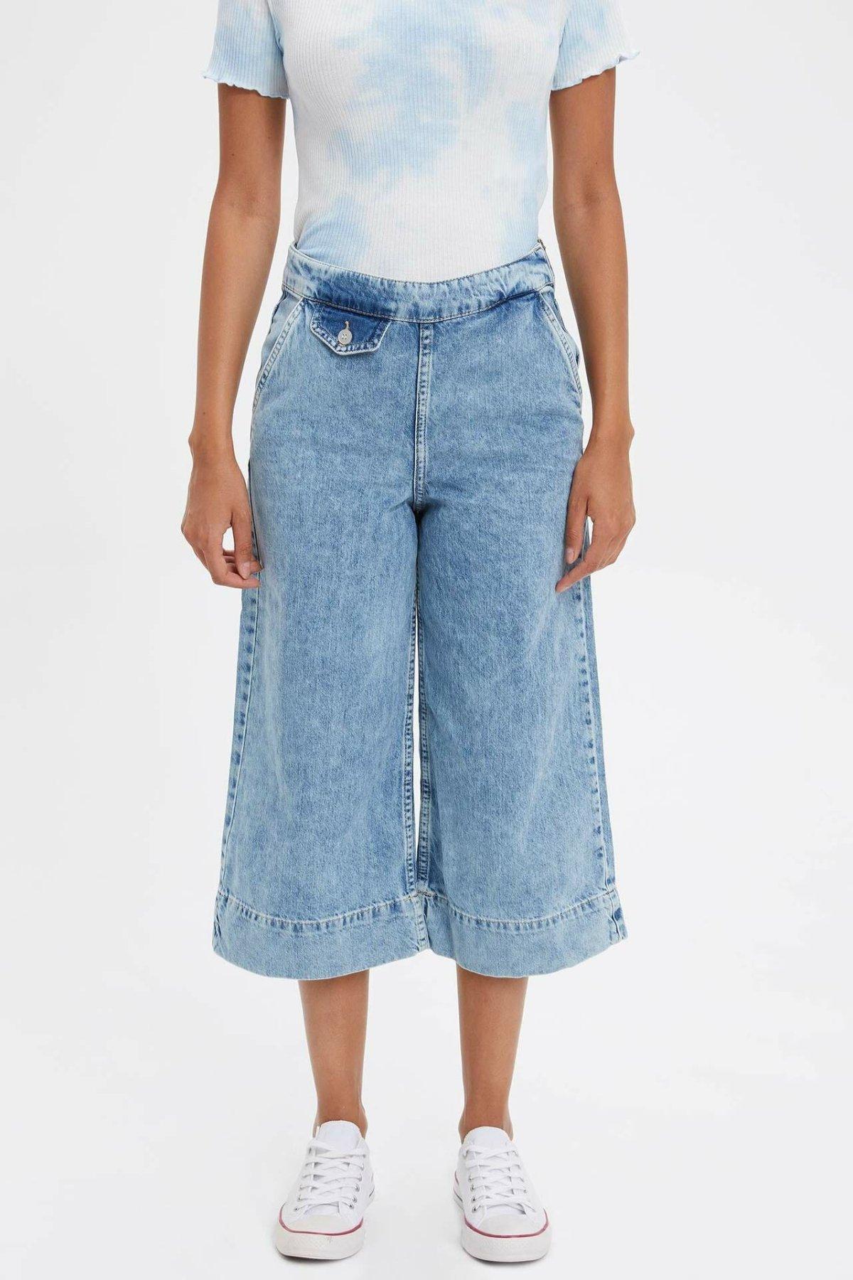 DeFacto Blue Denim Wide Leg Pants Women Fashion Jeans Stylish Fall Trouser Loose Blue Women  Jeans-L5023AZ19HS-L5023AZ19HS
