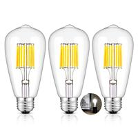 800LM 80W Equivalent, Replace 16W Compact Fluorescent CFL Bulbs, E26 Base Vintage ST64 Clear Glass LED Filament Bulbs, 3 Pack