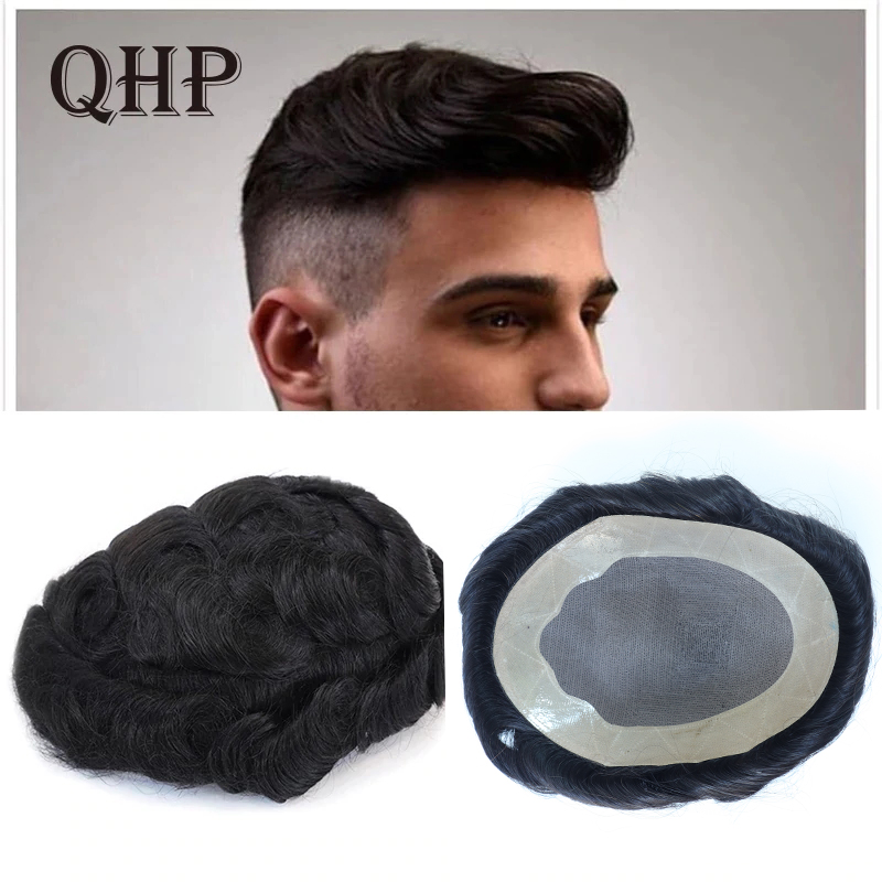 Mono With NPU Mens Toupee Remy Indian Hair Replacement System Human Burable Super Hairpieces Wig Handmade