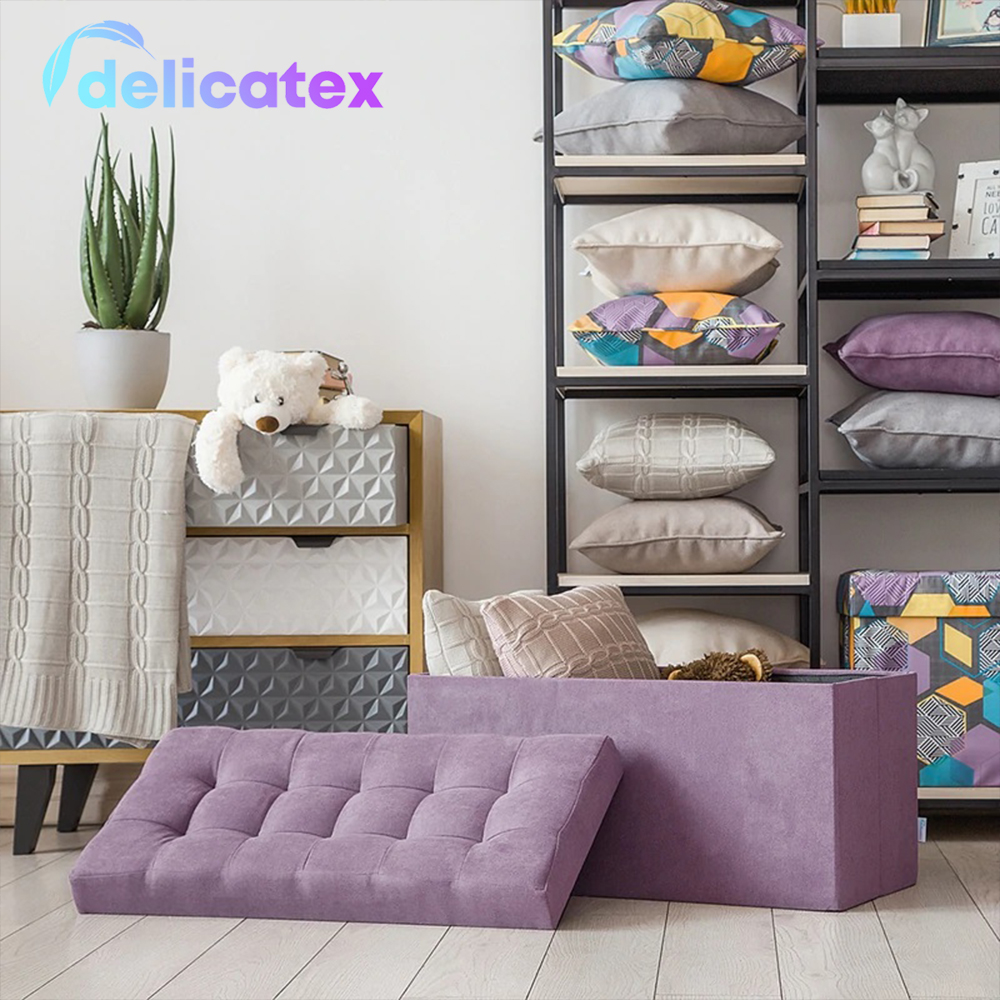 Delhi-Poof Folding Large Delicatex Lilac Multi-function Storage Box With Lid Organizer Comfortable Ottoman For Children Footrest Fabric Small Chair Living Room Hallway Furniture Tabouret Pouf Storage For Toys  With
