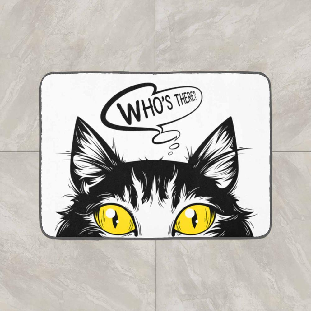 Else Black White Cat 3d Pattern Print Anti Slip Decorative Floor Door Mat Home Entryway Livingroom