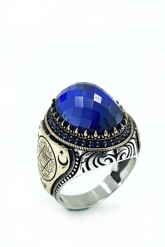 Oval Sapphire Solomon Seal Top Quality Silver Men 'S Ring