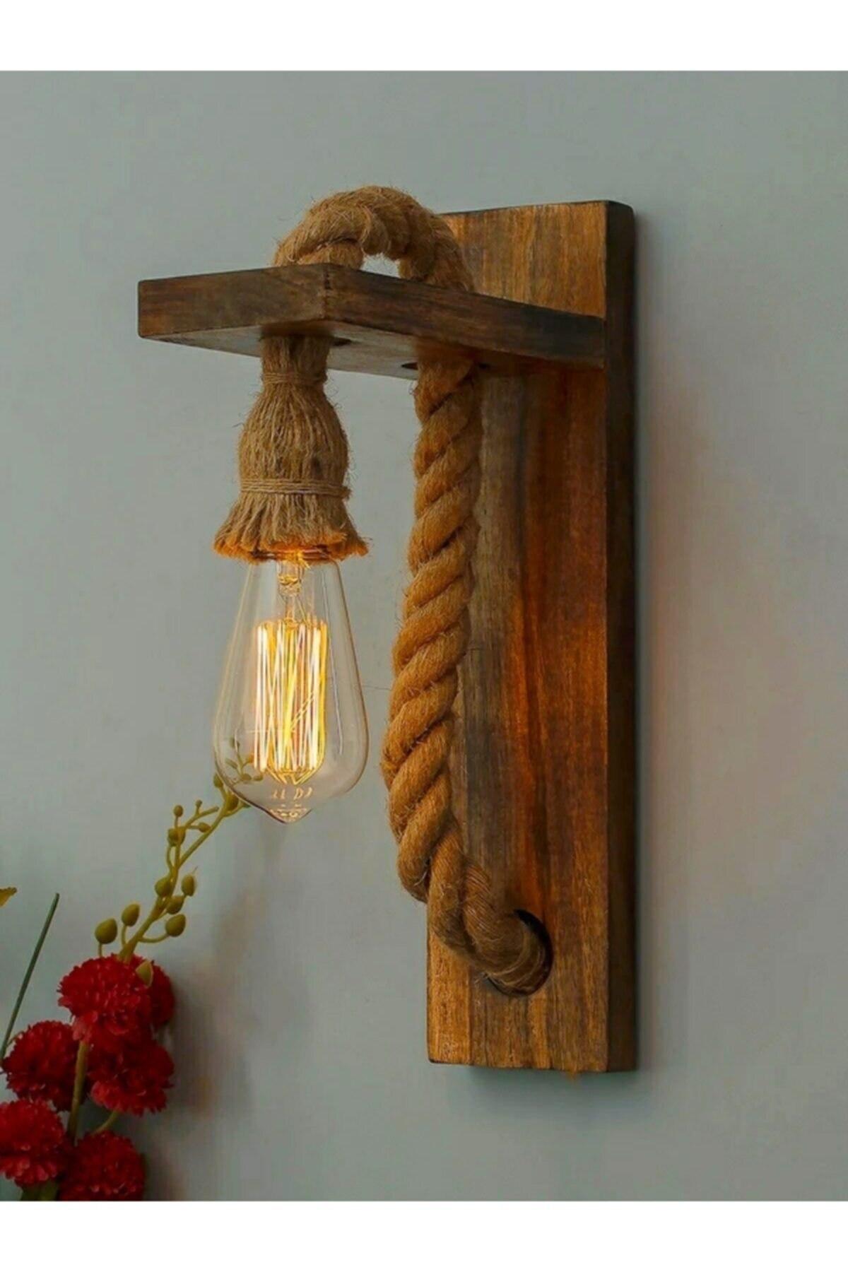 Lustre-bois-cordé-rustique-applique murale-support de lampe E.27-aspect Naturel et esthétique-éclairage maison-lampe décorative