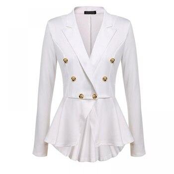 Vintage Single Button Solid Women Blazers Coat 2020 Autumn New Long Sleeve Suit Coat Skirt Hemlines Blazers Tops Outerwear Women button through solid outerwear