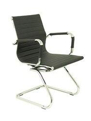 Кресло для посетителей/ожидания структура скейтборд-сиденье и спинка из мягкой в similpiel черного цвета пикерас и CR
