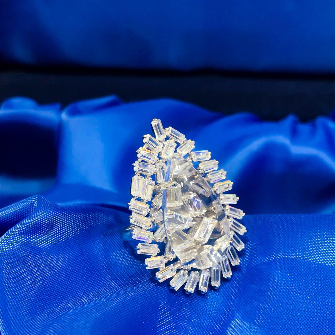 Crystal Quartz Baget Zircon Water Drop Silver Italian Ring()