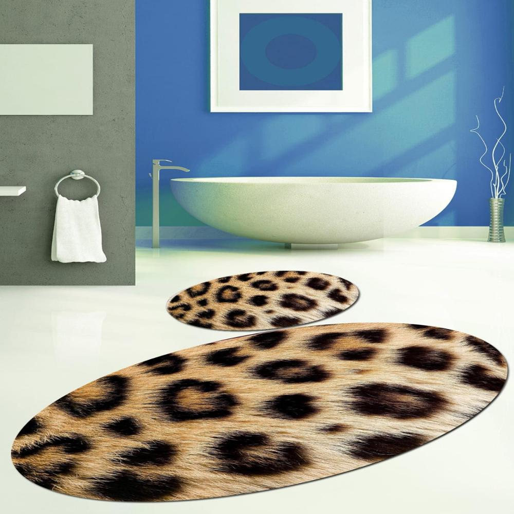 Else สีเหลืองเสือดาวเสือดาว FUR Design 2 Pcs 3D รูปแบบพิมพ์เสื่ออาบน้ำ Anti SLIP Soft Washable ห้องน้ำห้องน้ำพรม
