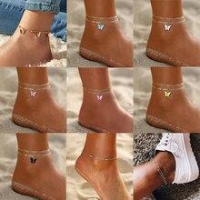 Butterfly Anklet Bracelet Chain Foot-Leg Beach-Jewelry Multi-Layered Fashion Women