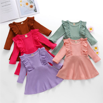 1-6Y Toddler Kids Baby Girl Autumn Dress Ruffles Long Sleeve Solid Cotton Linen Party Casual Clothes