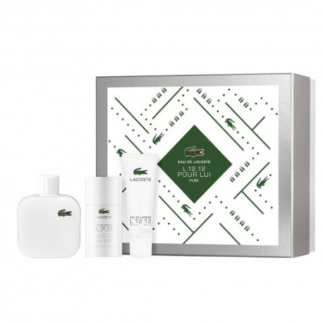 EAU DE LACOSTE L.12.12 BLANC EDT SPRAY 100ML + DEODORANT STICK 75ML + GEL 50ML