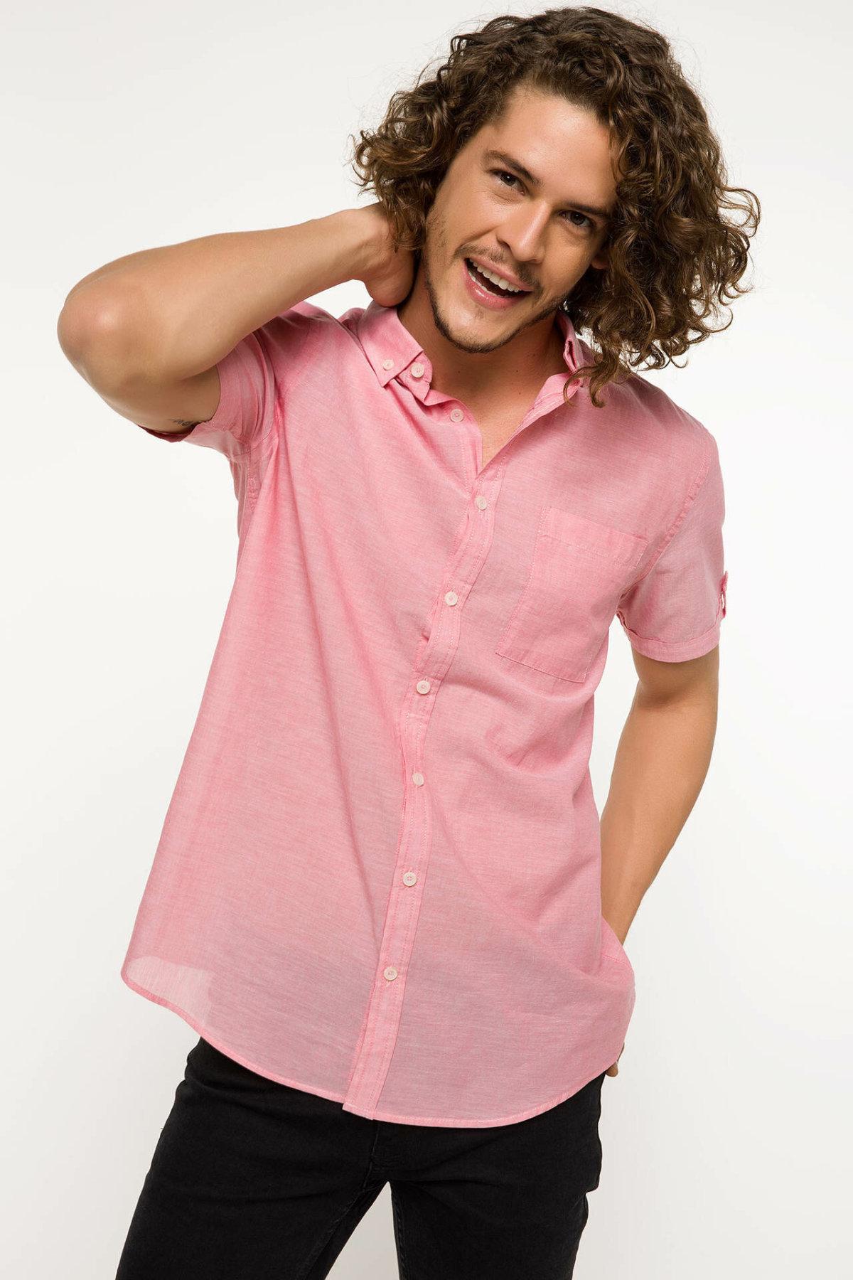 DeFacto Men Fashion Simple Shirts Short Sleeve Solid Shirts Mens Casual Lapel Collar Casual Shirt New - I3041AZ18SMRD38-I3041AZ18SM