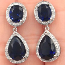 34x14mm Stunning Drop Shape Tanzanite White CZ Woman's Party Silver Earrings