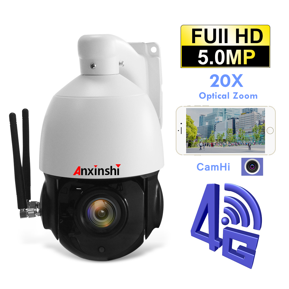 5MP HD <font><b>3G</b></font> 4G PTZ IP Kamera 20x Optische Zoom <font><b>SIM</b></font> Karte Sternenlicht onvif P2P CamHi Im Freien Wasserdichte CCTV Wireless Security Kamera image