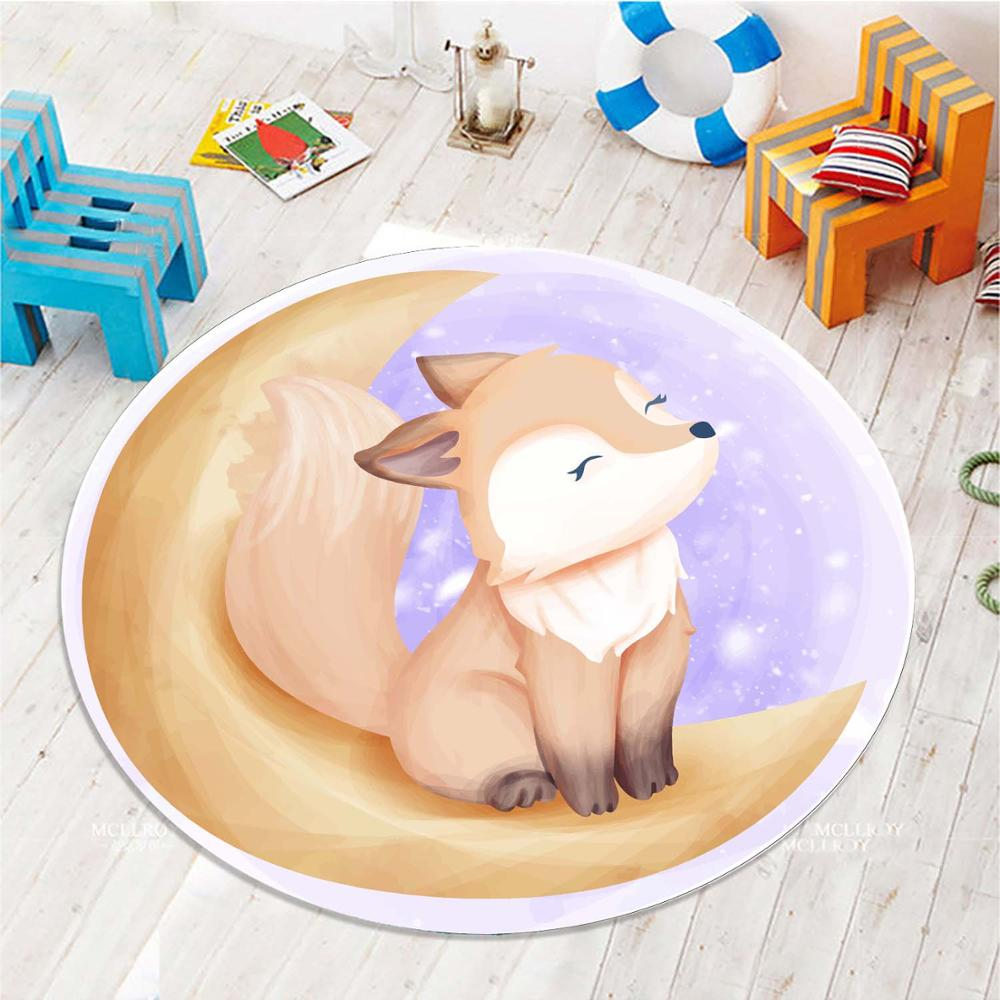 Else Brown Fox On Yellow Moon 3d Pattern Print Anti Slip Back Round Carpets Area Rug For Kids Baby Children Room