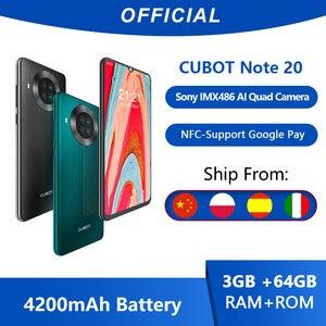 Cubot Note 20 задний Quad Camera смартфон Четыре камера NFC телефон 3 Гб + 64ГБ 6,5 дюйма 4200 мАч Большая Батарея новая Google Android 10 система две sim-карты мобильны...