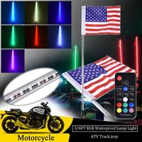 3ft 4ft RGB LED Flag Pole Safety Antenna Whip Lights w/ Remote Control For ATV UTV Polaris RZR Off Road Jeep Sand Buggy Truck